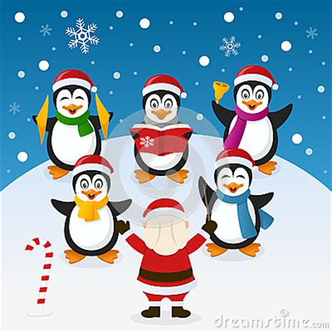 cartoon themes orchestra christmas carol with penguins orchestra stock vector