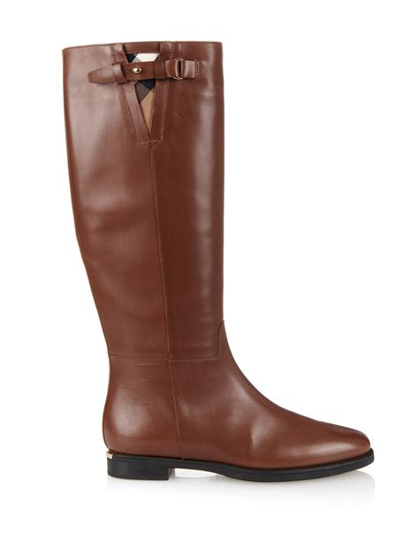 light brown riding boots burberry house check trim leather riding boots in brown lyst