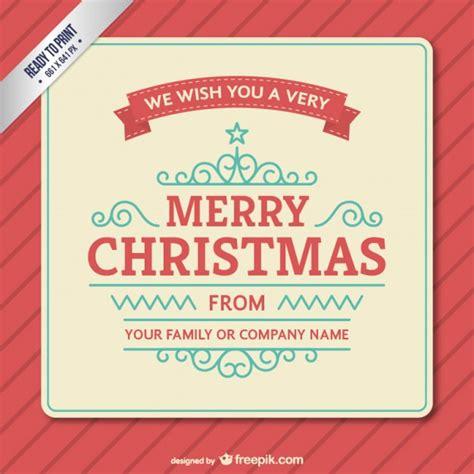Kostenlose Vorlage Weihnachtskarte Weinlese Weihnachtskarte Vorlage Der Kostenlosen Vektor