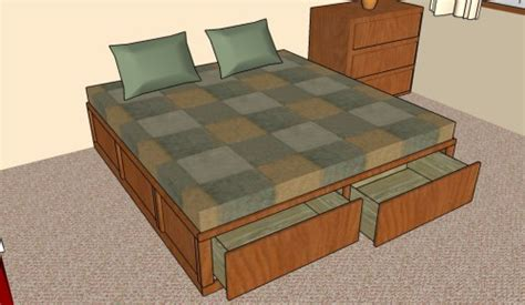 king size bed plans how to build a storage bed frame howtospecialist how