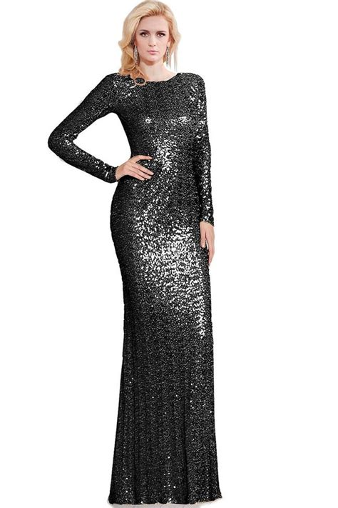 black long sleeve sequin dress modest high neck long sleeve black sequin evening prom dress