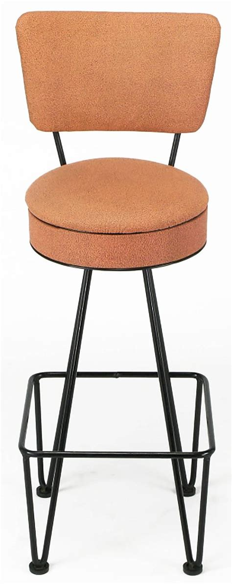 Rod Iron Stools by Six Wrought Iron Bar Stools After Frederick Weinberg For