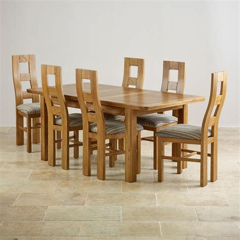 Extending Dining Table With 6 Chairs Orrick Extending Dining Set In Rustic Oak Table 6 Beige Chairs