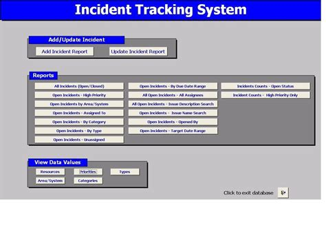 system incident report template incident tracking system 2 1 screenshot