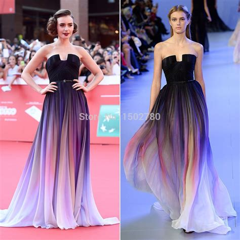 aliexpress com buy lily collins dress ruched flowing