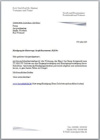 Musterbrief Einfache Bewerbung K 252 Ndigungsschreiben Mietvertrag Vorlage Muster Beispiel Kostenlos