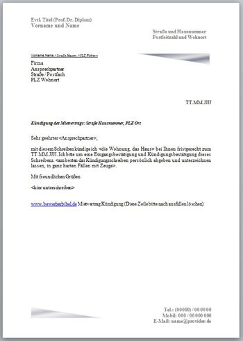 Musterbrief Kündigung Mietvertrag Bei Tod K 252 Ndigungsschreiben Mietvertrag Vorlage Muster Beispiel Kostenlos