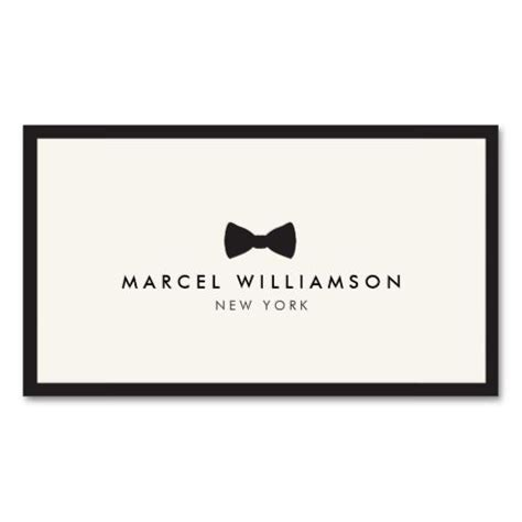 business card template with mascot s classic bow tie logo black ivory business card