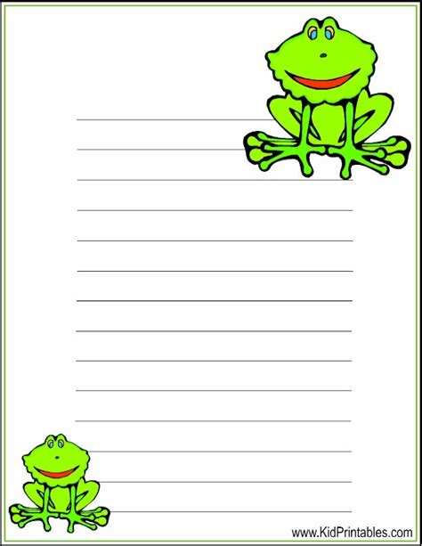 frog border writing paper kid printables printable frog stationery