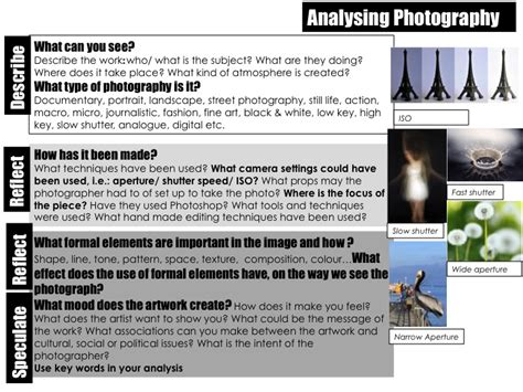 photography analysis  sheet  lydiafrida teaching