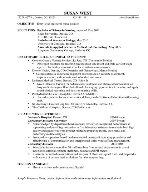 Resume Format For Entry Level Nurses Entry Level Resume Sle Resumes Design