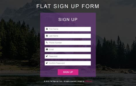 Flat Sign Up Form Responsive Widget Template Sign Up Form Template Html Css Free