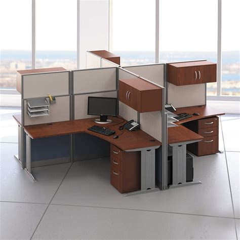 l with outlet and organizer 4 pack l shaped cubical workstation with storage