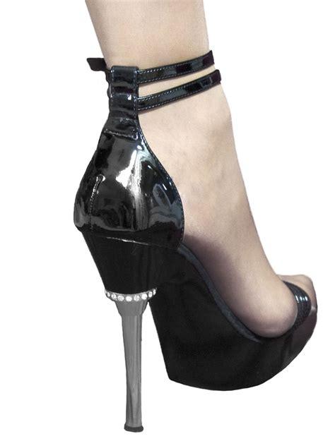 High Heel Patent Sandals pleaser black patent chrome high heel sandals tout ensemble