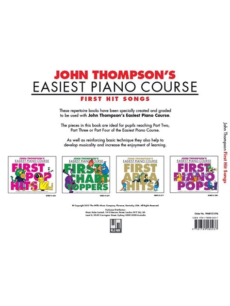 libro john thompsons easiest piano john thompson s easiest piano course first hit songs piano partituras partituras y