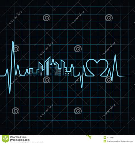 design photo stock heartbeat make a building design and heart stock vector