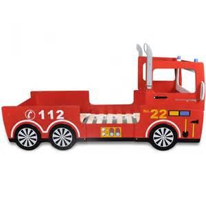 lit pour enfant avec sommier 224 lattes camion de pompier