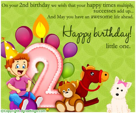 Happy 2nd Birthday Wishes For 2nd Birthday Card