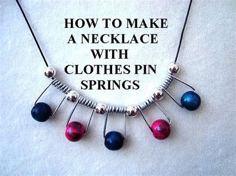 how to make recycled jewelry diy necklace with clothes pin springs jewelry