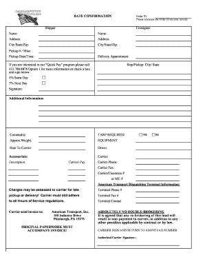 Rate Confirmation Fill Online Printable Fillable Blank Pdffiller Trucking Rate Sheet Template