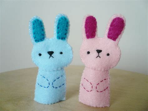 Handmade Puppets Patterns - handmade finger puppets pink bunny and blue bunny on luulla