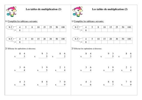 exercice de table de multiplication ce2 a imprimer les tables de multiplication exercices giftcardsafrica
