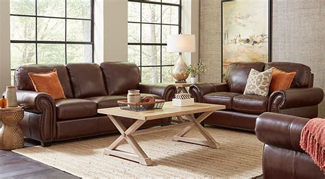 Living Rooms With Brown Leather Sofas Balencia Brown Leather 5 Pc Living Room Leather Living Rooms Brown