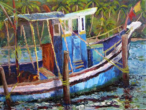 fishing boat art work blue fishing boat painting by art nomad sandra hansen
