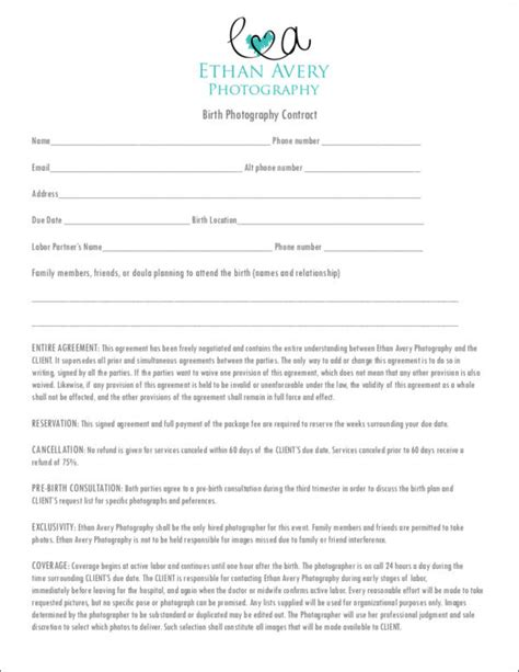 birth photography contract template 19 photography contract templates and sles in pdf
