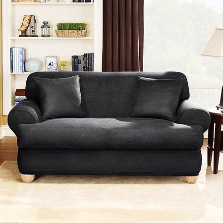 Black T Cushion Sofa Slipcover by Stretch Leather 2 T Cushion Loveseat Slipcover