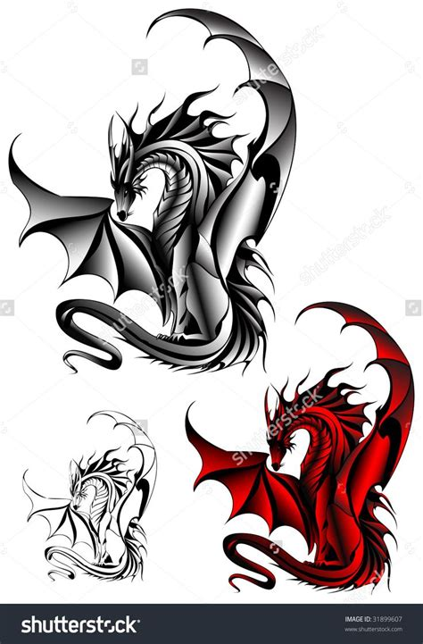 welsh dragon tattoo designs design stock vector illustration 31899607