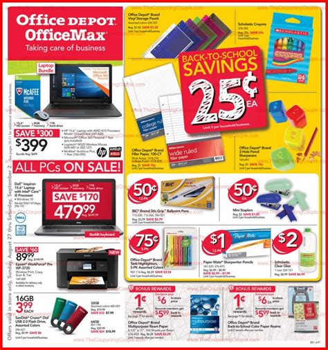 office depot coupons weekly ad office depot officemax weekly ad scan 8 27 17 9 2 17