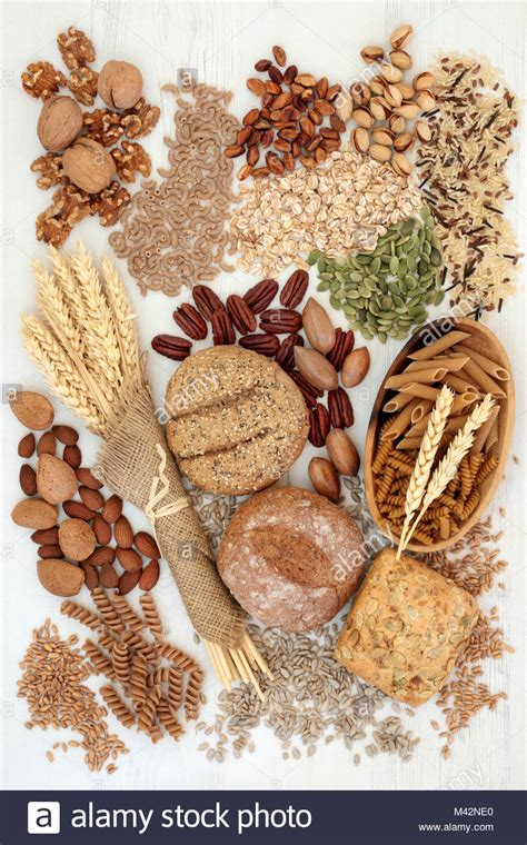 foods with whole grains and fiber bread grains and pasta stock photos bread grains and