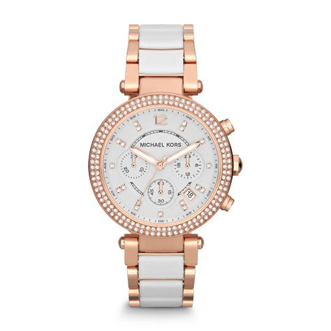 Michael kors Parker Rose Gold tone White Acetate Watch in Pink   Lyst