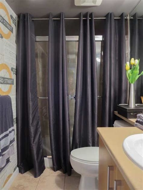 using regular curtains for shower 37 ways to disguise the ugliest parts of your home