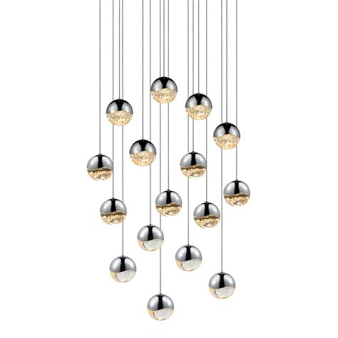 Multi Pendant Lighting Sonneman 2923 01 Med Grapes Contemporary Polished Chrome Led Medium Multi Hanging Pendant