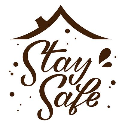 stay home stay safe hand drawn lettering  roof