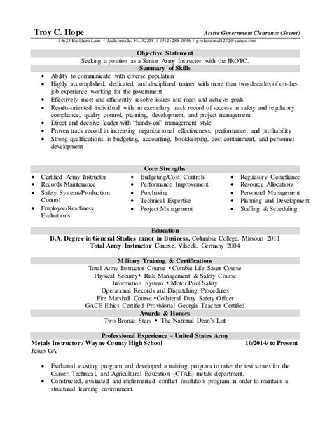 School Resource Officer Sle Resume by Jrotc Resume 28 Images Tchope Resume With Jrotc Sle Resume For Rotc Aspiring Officers