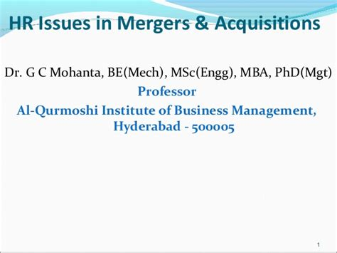 Mergers And Acquisitions Ppt For Mba by Hr Issues In Mergers Acquisitions Gcm