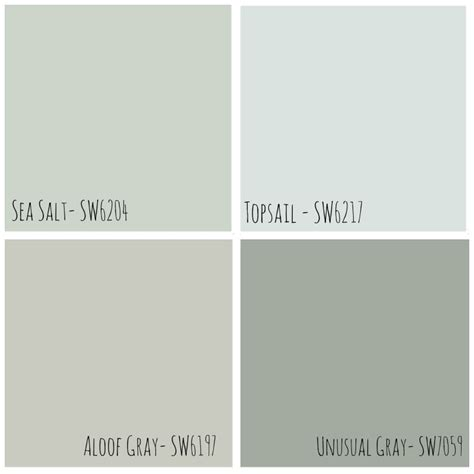 neutral grey sherwin williams paint colors shows the difference between sea salt and aloof gray