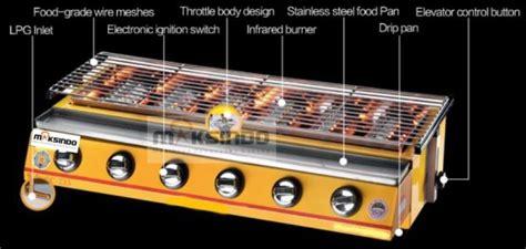 Alat Pemanggang Sosis Mesin Pemanggang Sate Bbq 4 Tungku Gas Toko Mesin Maksindo Toko Mesin Maksindo