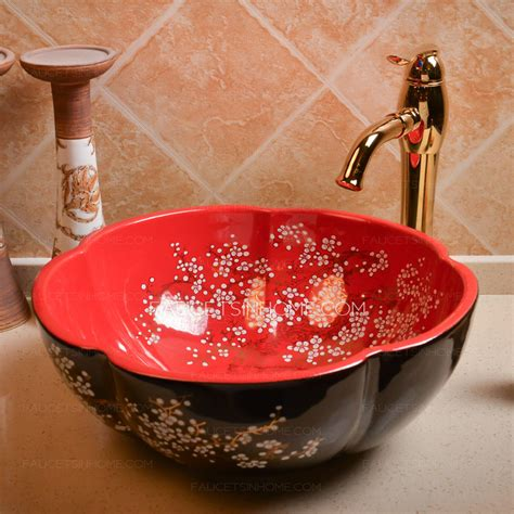 red bathroom sink bowl black and red round ceramic sinks flower shape single bowl