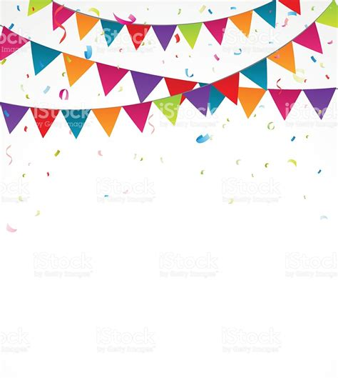 Bunting Flag Birthday Bunting Flag Birthday Bunting Flags With Confetti Stock Vector