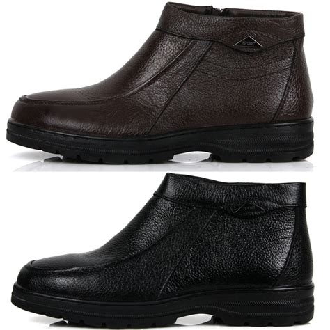 mens dress boots for winter new mens casual dress leather snow warm winter slip on