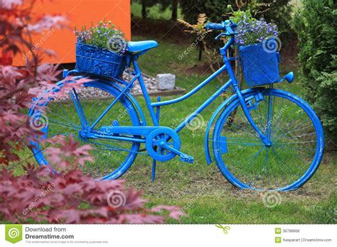 Garden Decoration Bicycle by Blue Bicycle Garden Decoration Royalty Free Stock Photos
