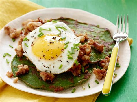 st patricks day spinach pancakes  corned beef hash