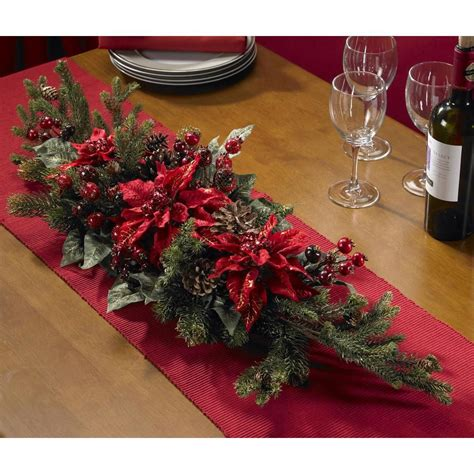 poinsettia and berry centerpiece silk plant overstock