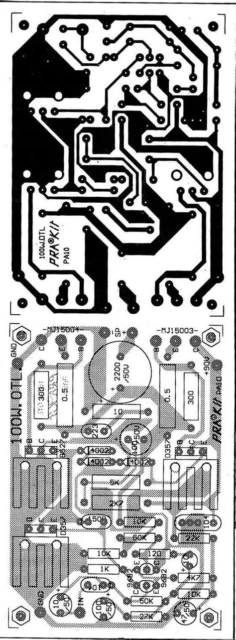 Pcb 60w Power 100 watts otl lifier circuit using transistor eleccircuit