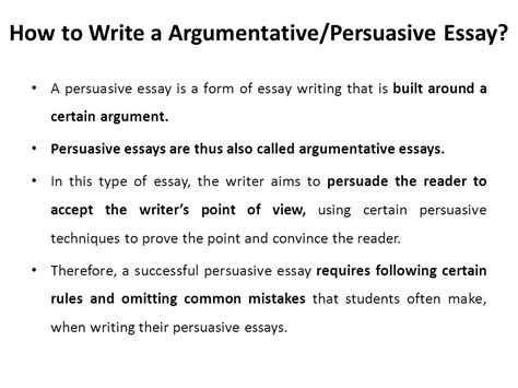 How To Write A Thesis For A Persuasive Essay by Argumentative Persuasive Essay Ppt