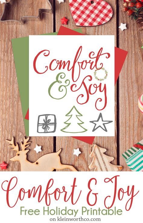 comfort holiday comfort joy free holiday printable kleinworth co